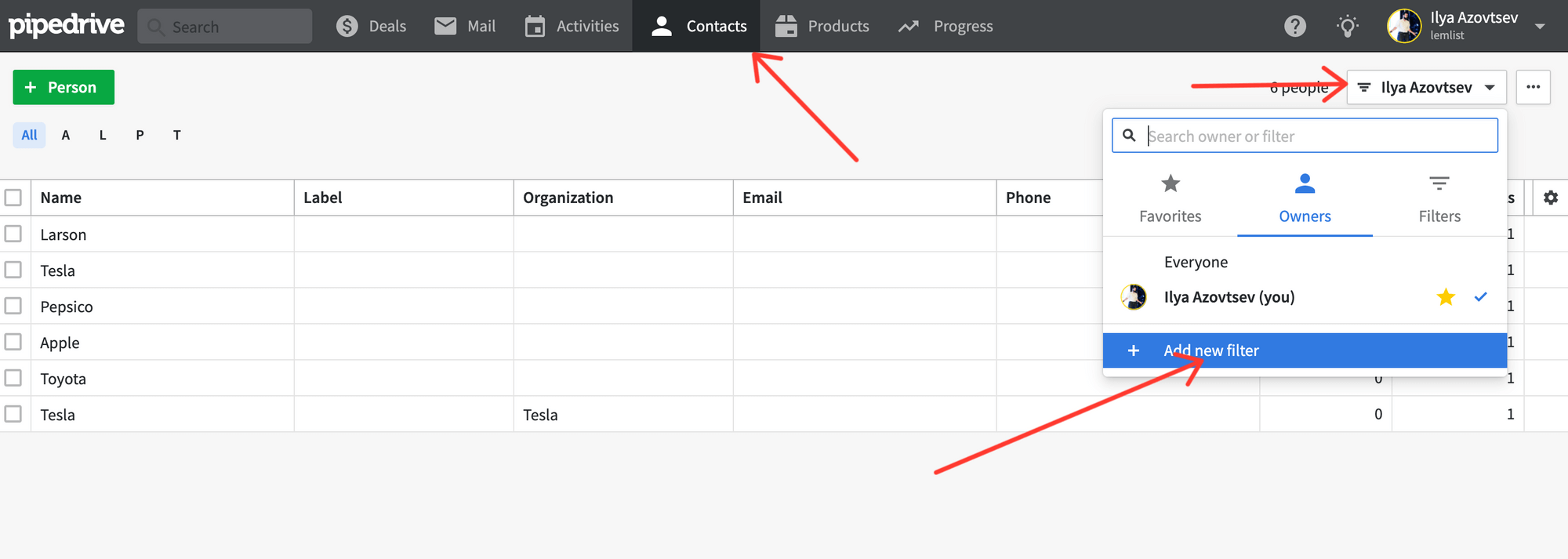 Add filters in Pipedrive CRM