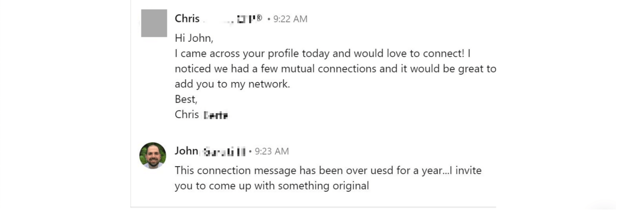 Bad example of LinkedIn message template