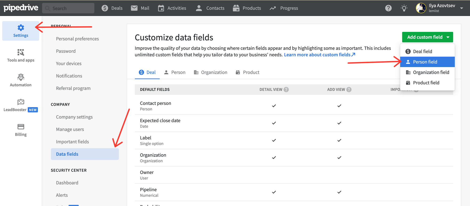 Pipedrive CRM fields