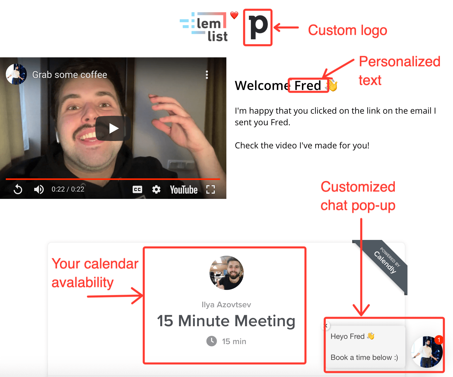 Video personalization in cold emails by lemlist