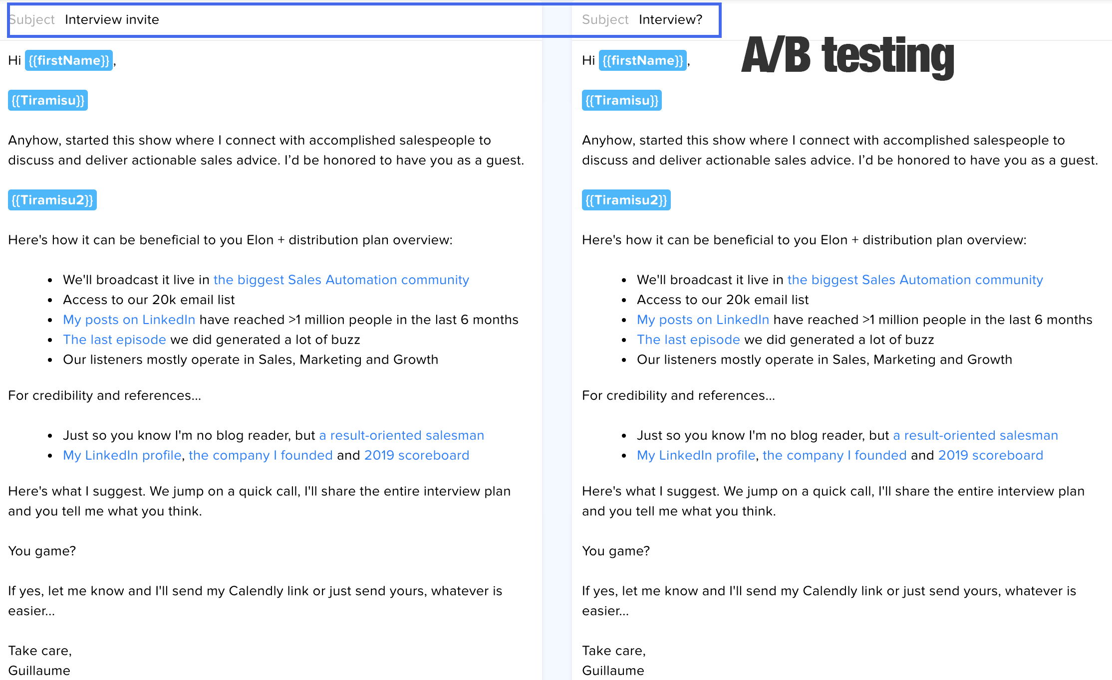 subject line A/B test