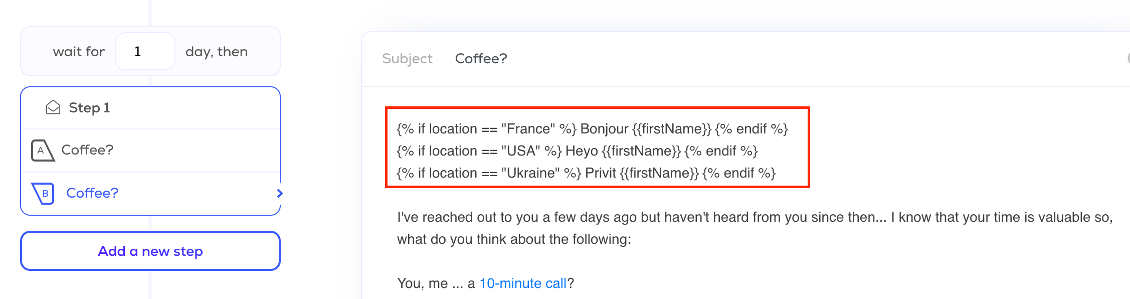 Text personalization cold emails