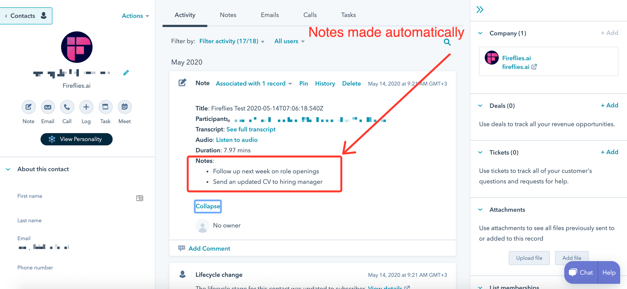 Automatically make notes in Hubspot CRM
