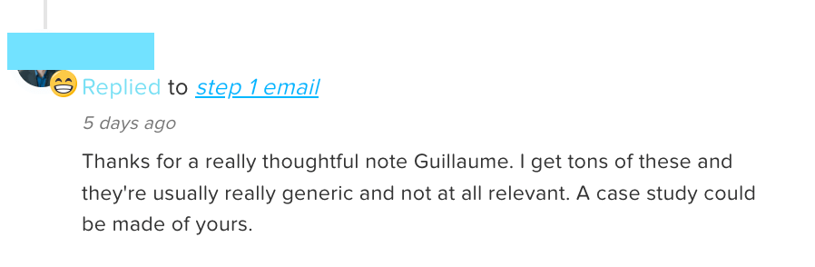 Cold email response