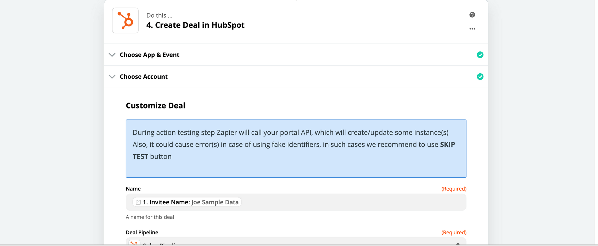 Create deal in Hubspot with Zapier