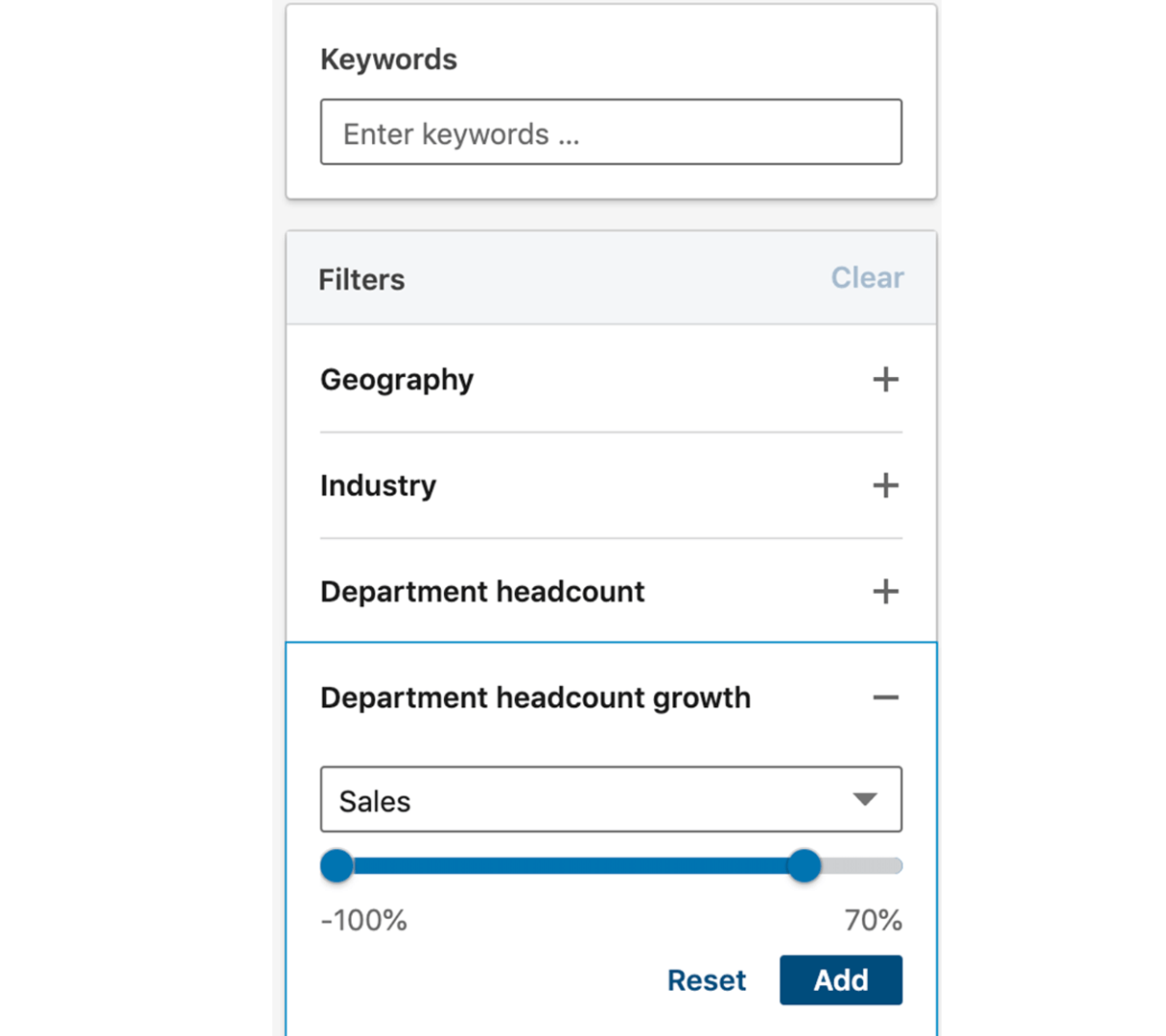 LinkedIn sales navigator filter