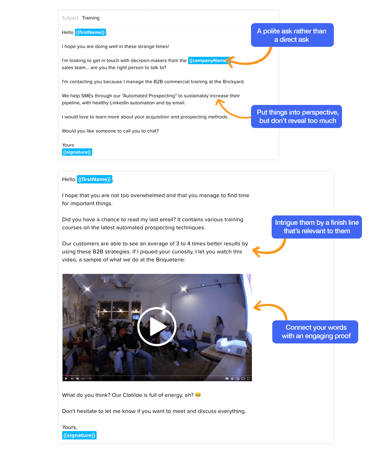 Sales email example