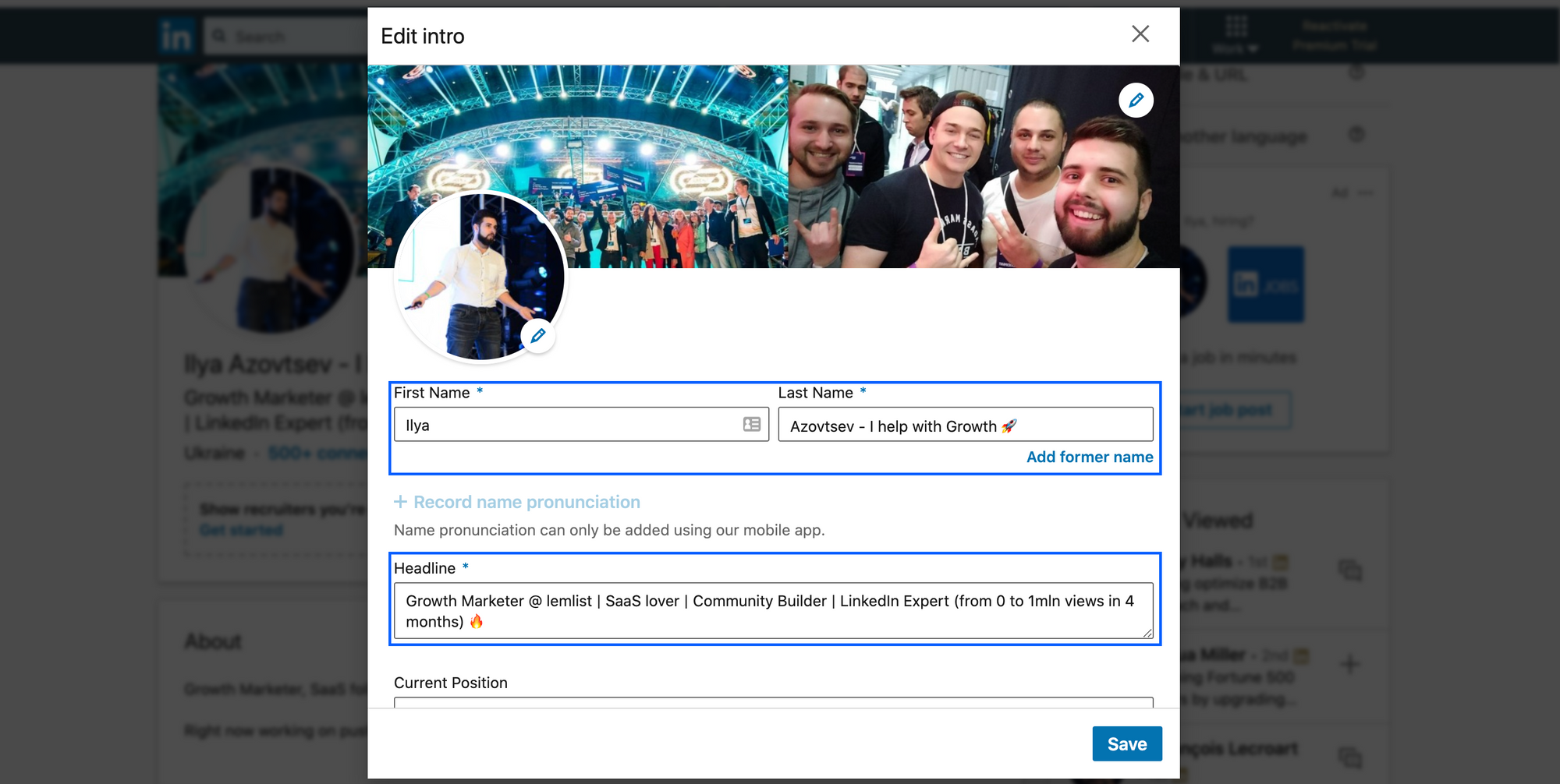 Optimized LinkedIn profile for best connection rate