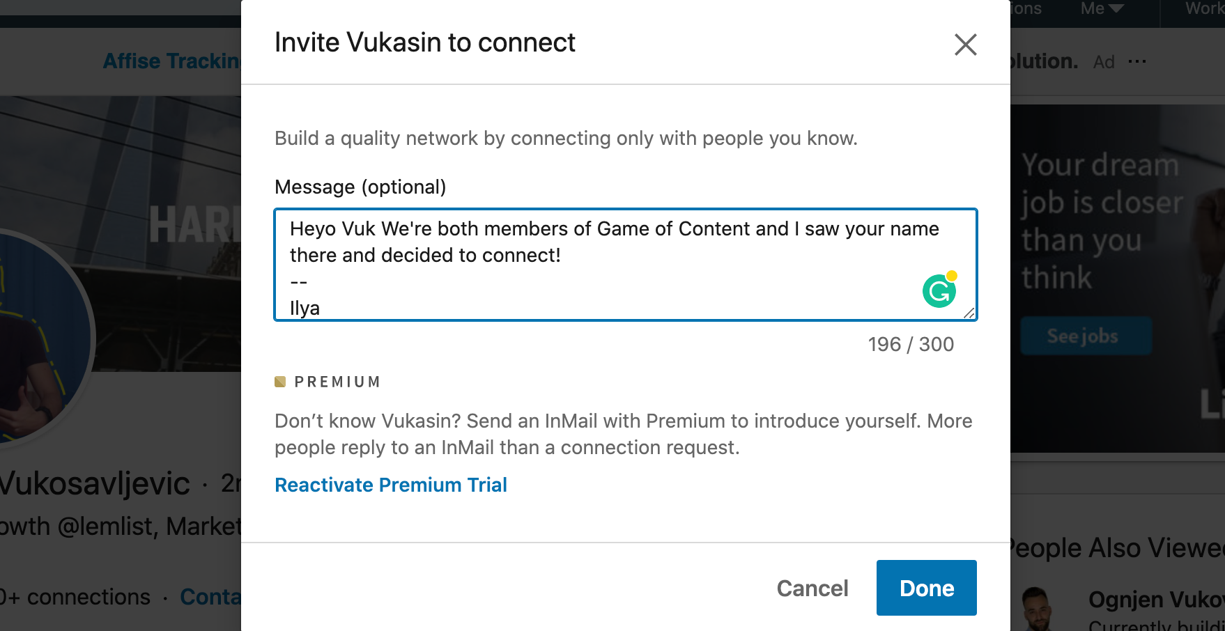 LinkedIn connection request message template