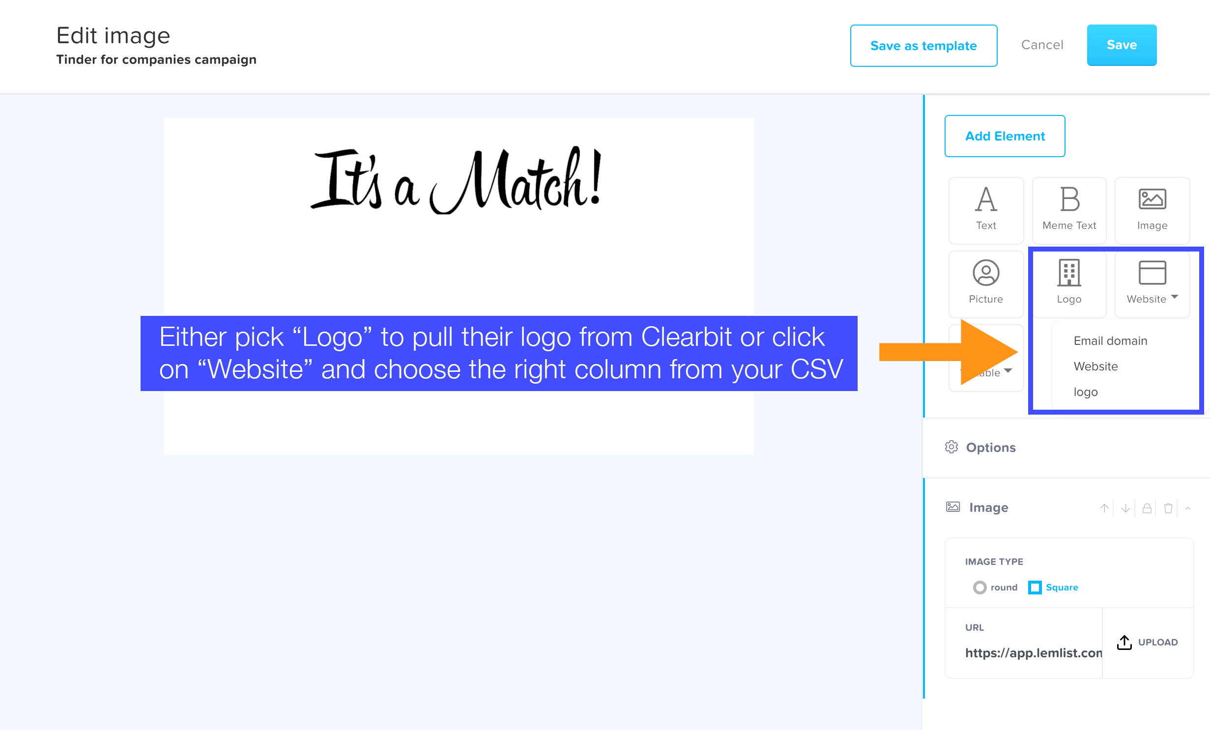 personalize image in lemlist