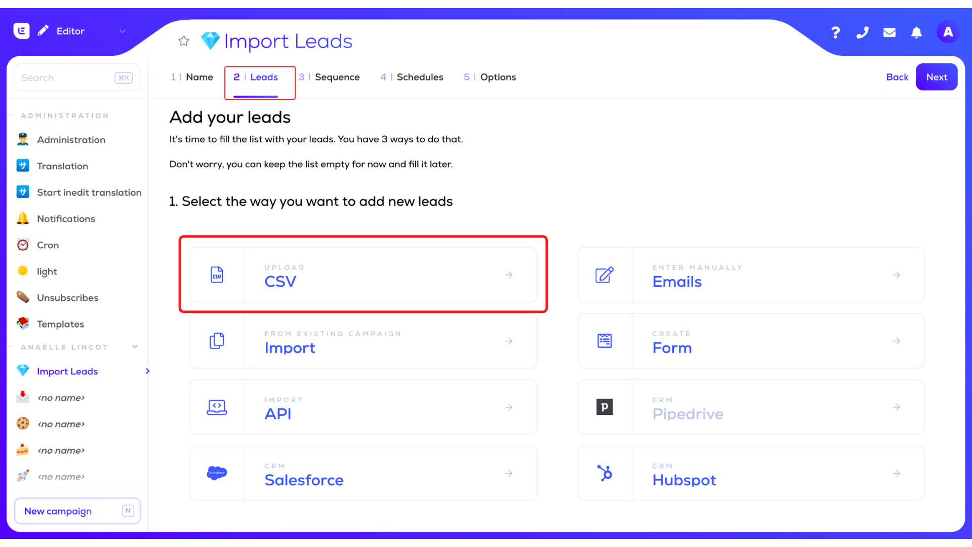 import email list in lemlist