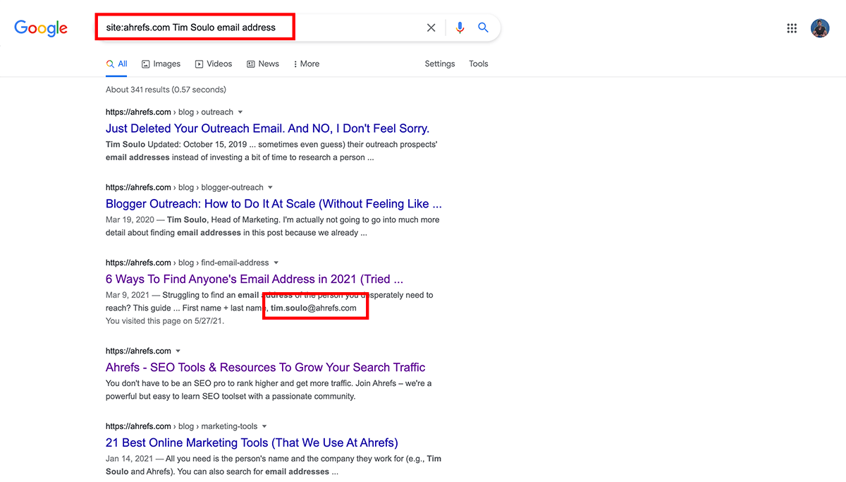Email address search on Google