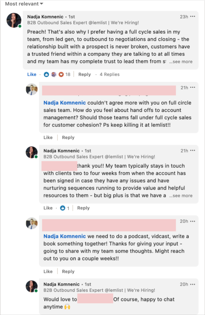 LinkedIn prospecting on post comments